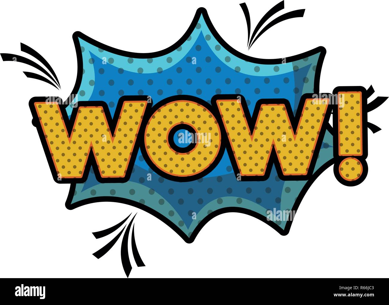 wow comic words in speech bubble isolated icon Stock Vector