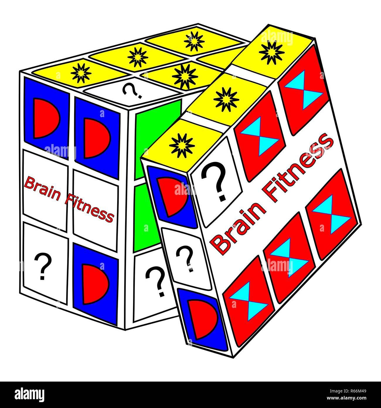 decorative Brain Fitness cube – illustration - Stock Image