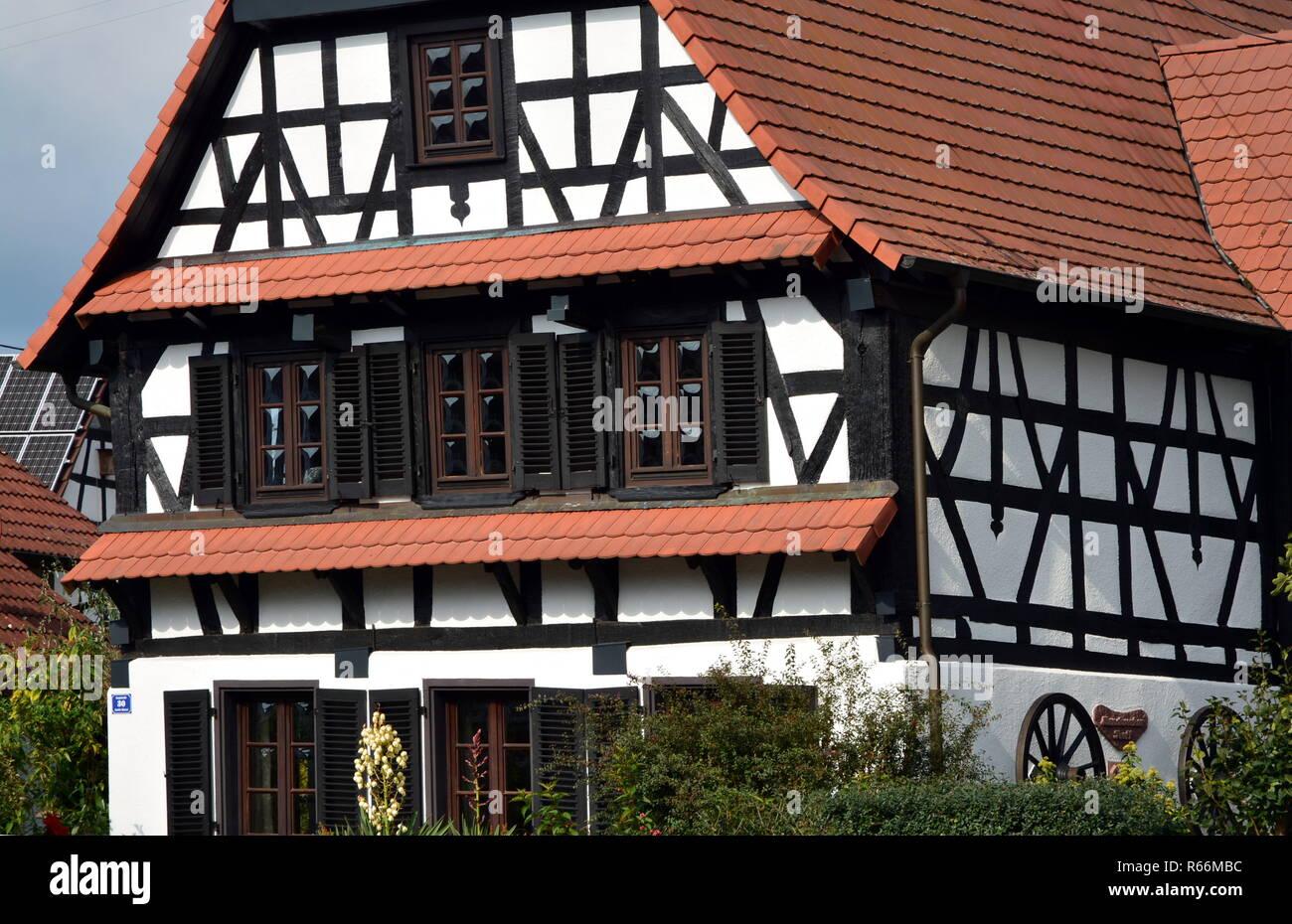 half-timbered house neuburg am rhein Stock Photo