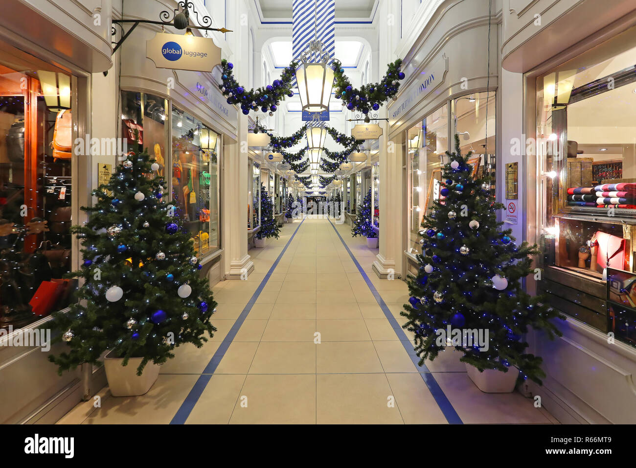 LONDON, UNITED KINGDOM - NOVEMBER 20: Christmas decoration at Princes Arcade in London on NOVEMBER 20, 2013. Princes Arcade is a boutique shopping cen Stock Photo