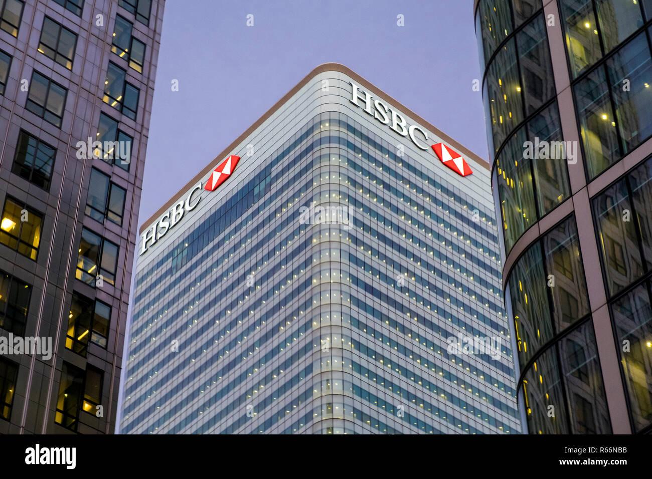 HSBC Bank building in Docklands, London, UK. - Stock Image