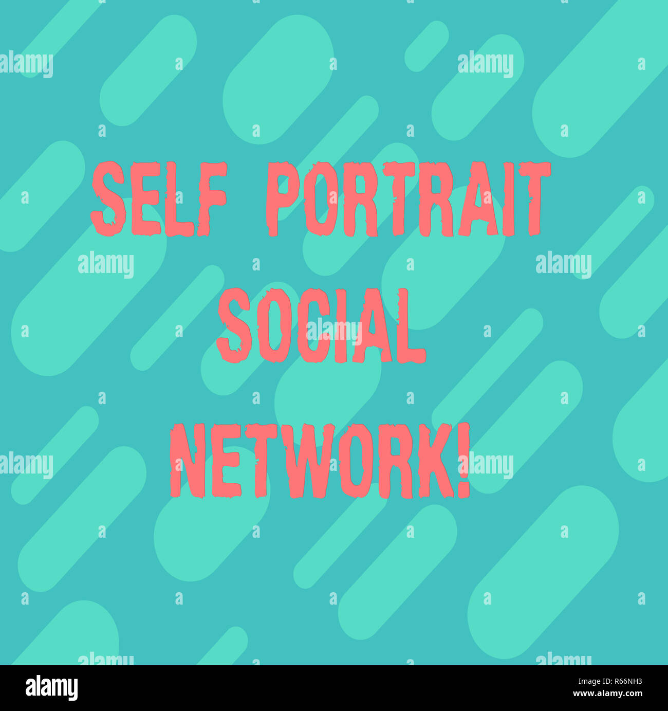 Word writing text Self Portrait Social Network. Business concept for Selfie for online sharing Smartphone picture Diagonal Repeat Oblong Multi Tone Bl - Stock Image