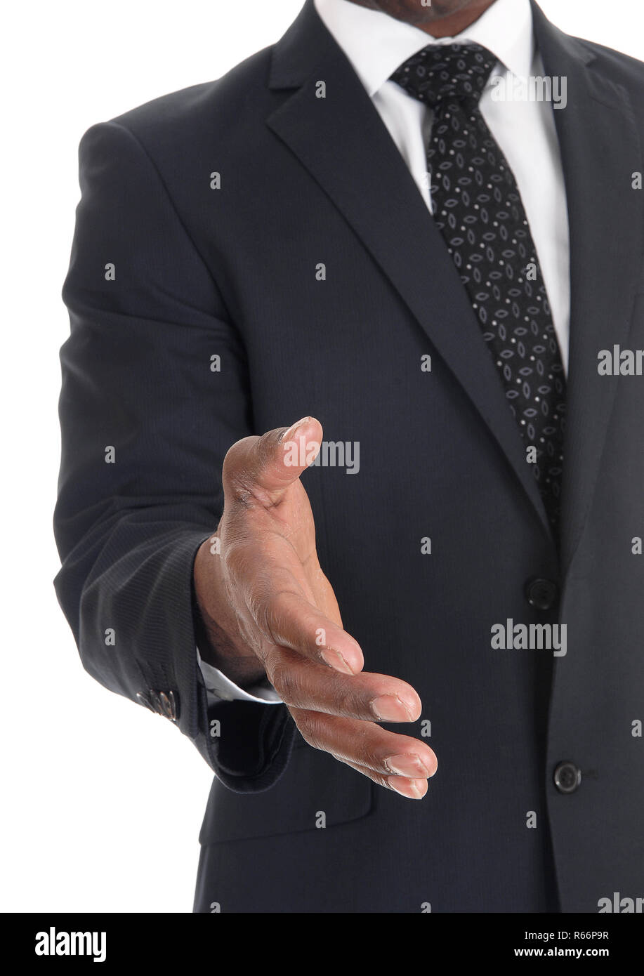 Outstretched hand from a business man Stock Photo