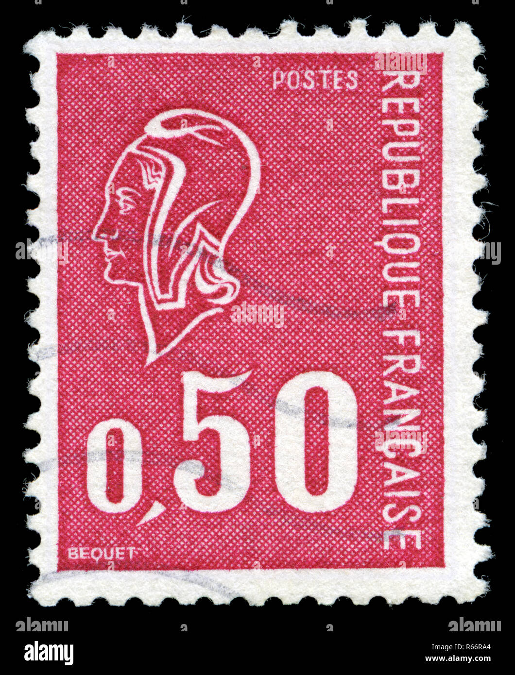 Postage stamp from France in the Marianne (Béquet) series issued in 1971 - Stock Image