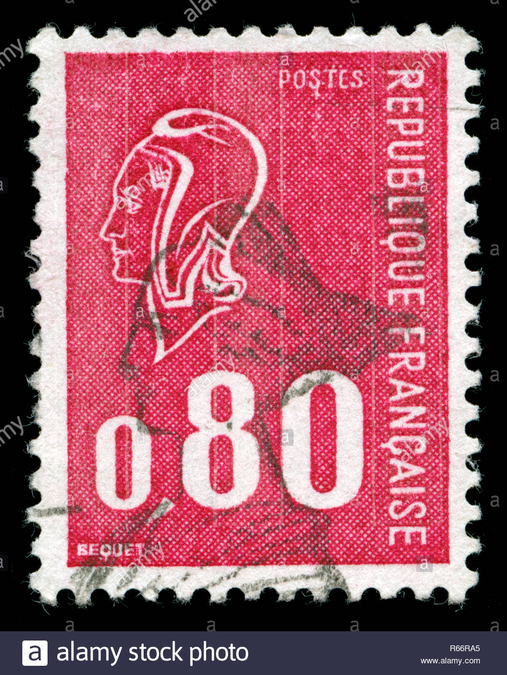 Postage stamp from France in the Marianne (Béquet) series issued in 1974 - Stock Image