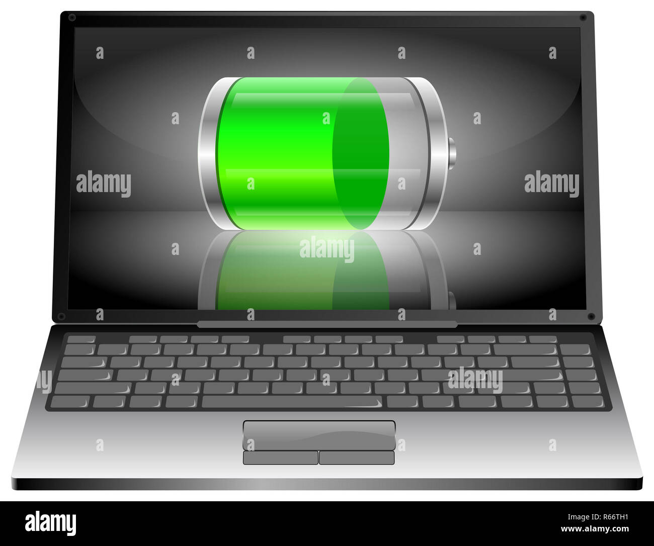 silver Laptop computer with green Battery - 3D illustration - Stock Image