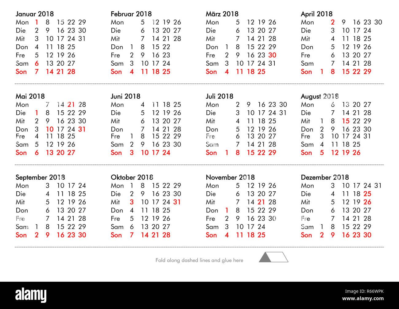 Diy Fold And Glue Year 2018 Calendar Germany Stock Photo