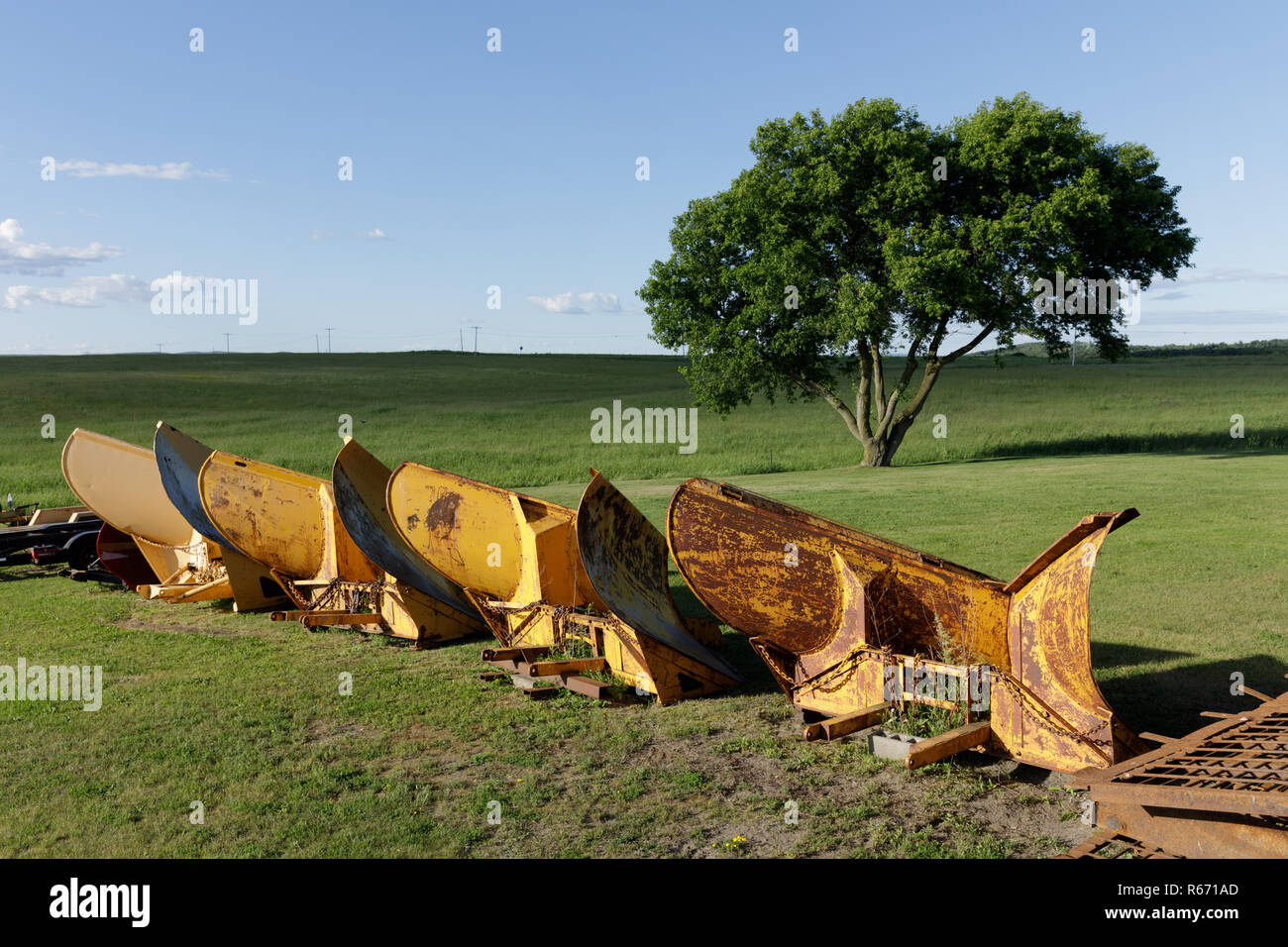 Snow plow blades, stored for the winter, Stone Arabia, New York State. - Stock Image