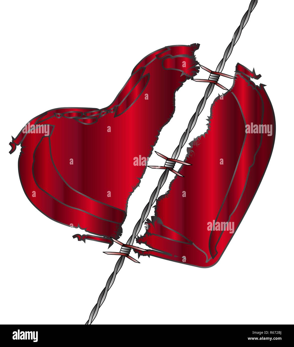 Torn Love Heart Stock Photo