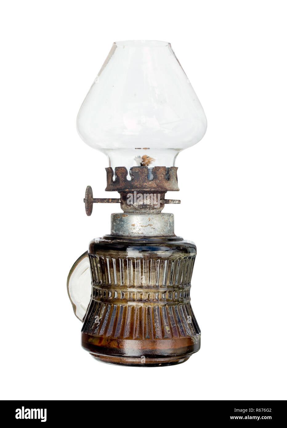 Old and used kerosene lamp - Stock Image
