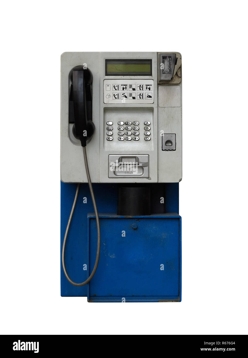 Old pay phone on white background - Stock Image