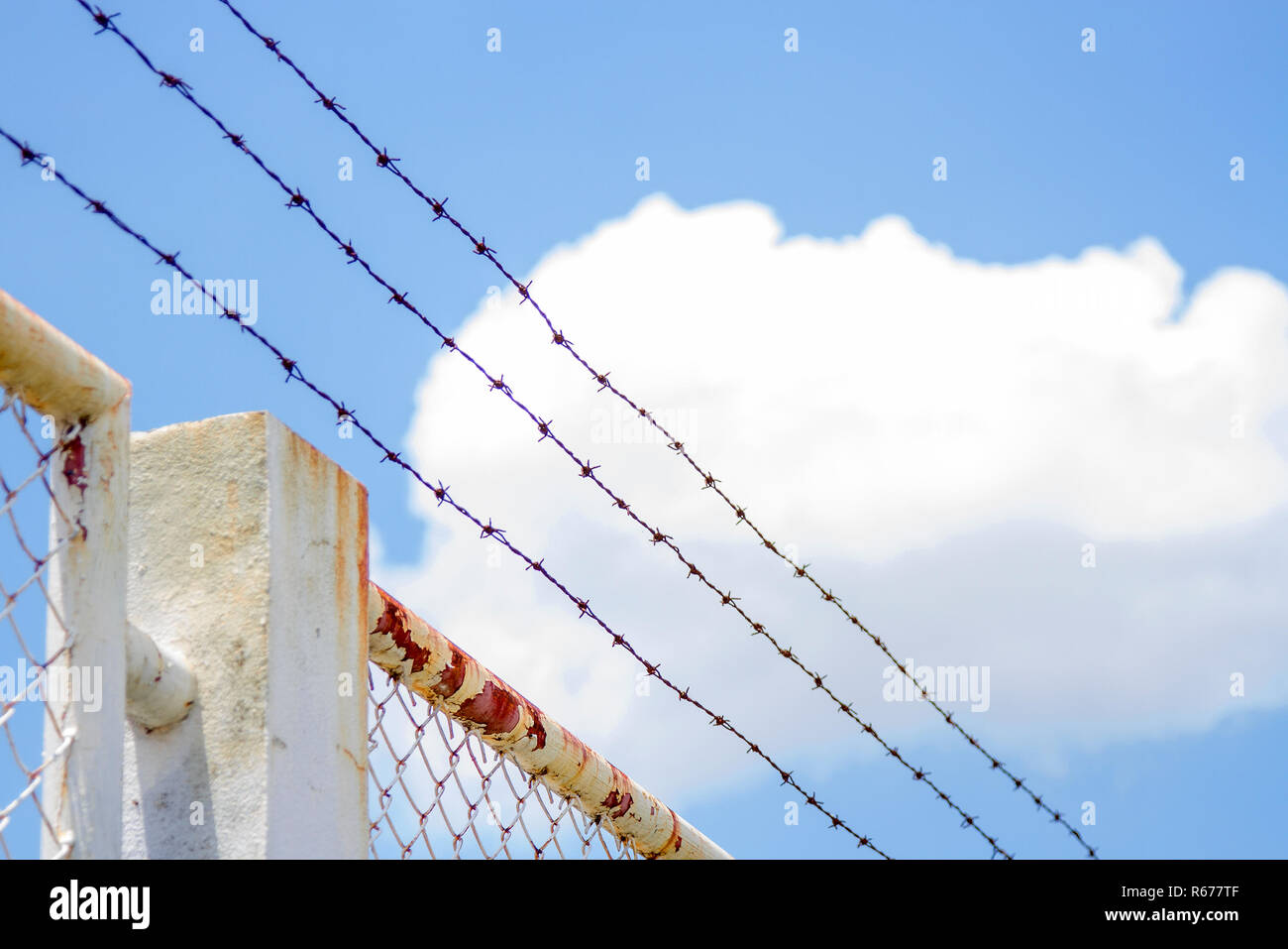 Barbed wire fence and white grating fence With blue sky Stock Photo