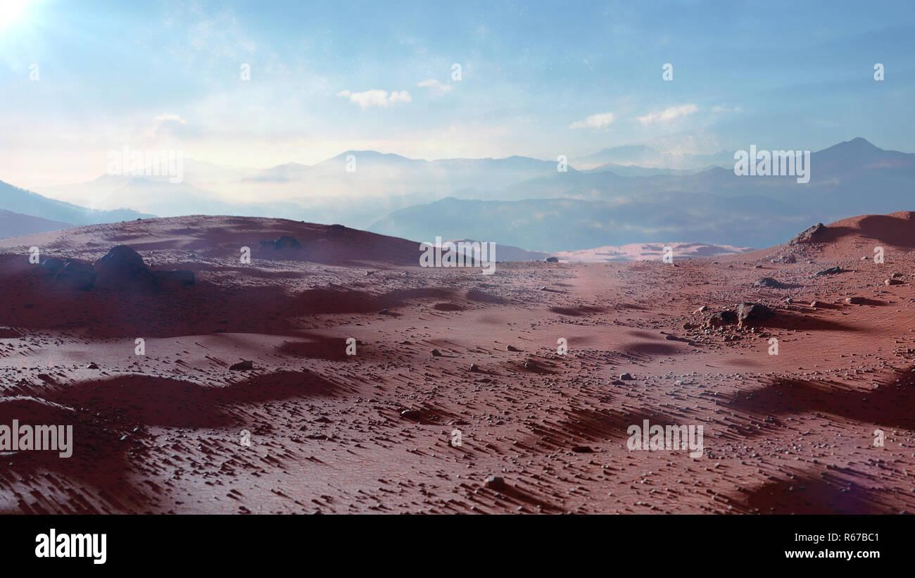 landscape on planet Mars, scenic desert scene on the red planet - Stock Image