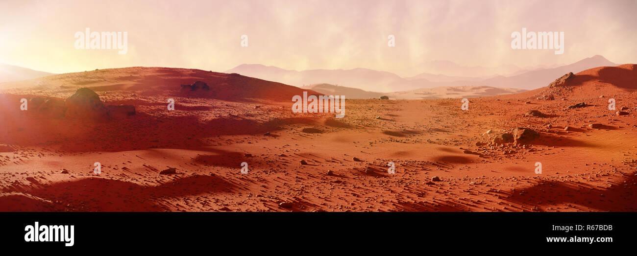 landscape on planet Mars, scenic desert on the red planet - Stock Image