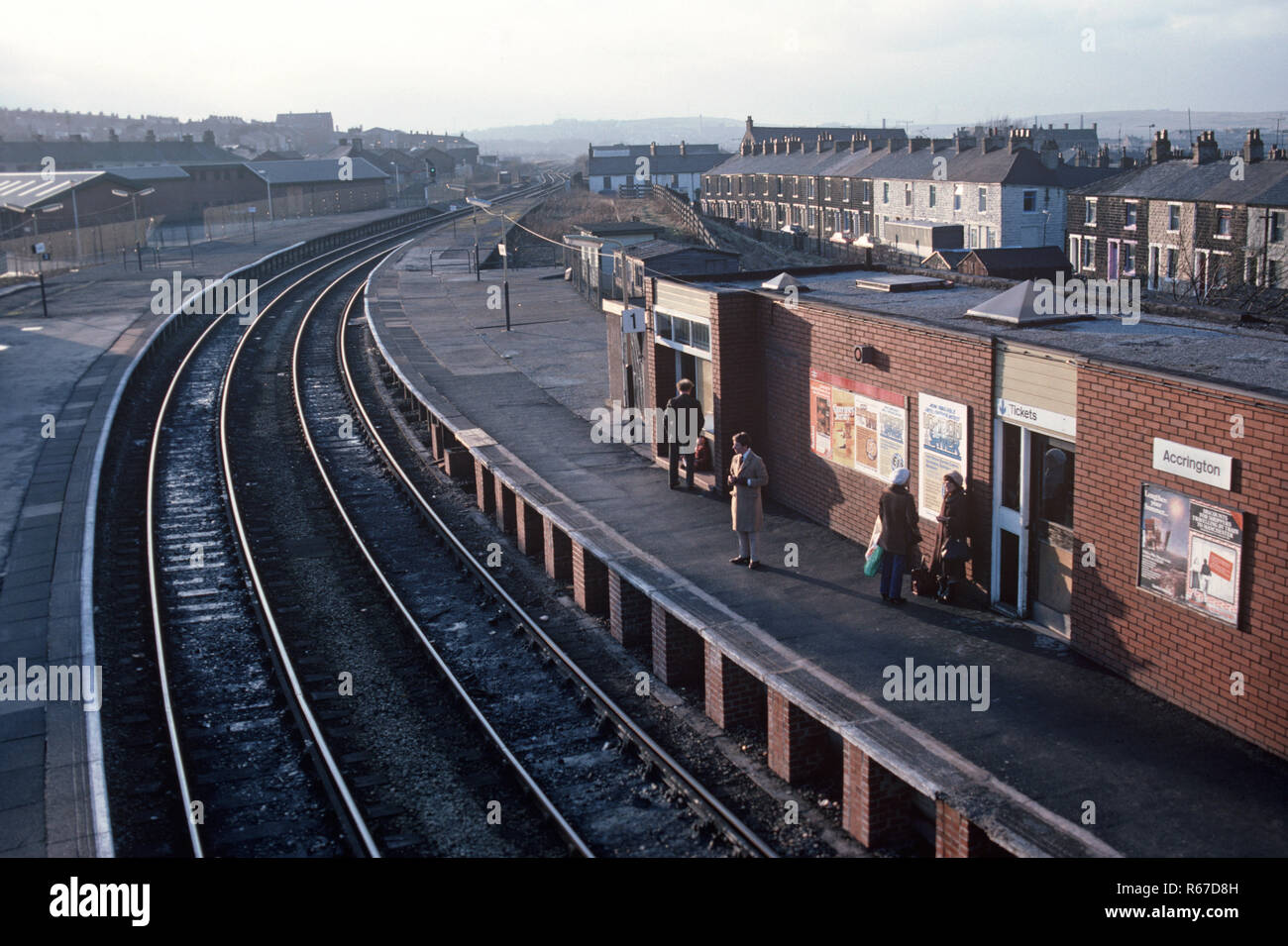 Accrington station on the British Rail Preston to Colne railway line, Lancashire, Great Britain - Stock Image