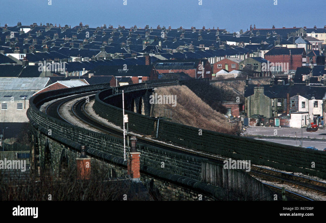 Accrington on the British Rail Preston to Colne line railway line, Lancashire, Great Britain - Stock Image