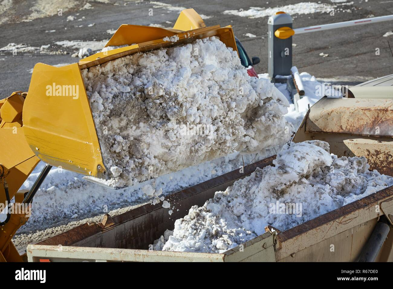 Loader removing snow from street Stock Photo