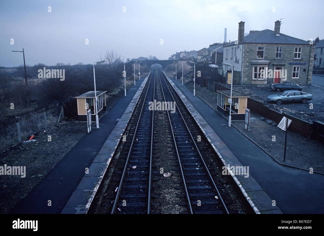 Huncoat railway station on the British Rail Preston to Colne railway station, Lancashire, Great Britain - Stock Image