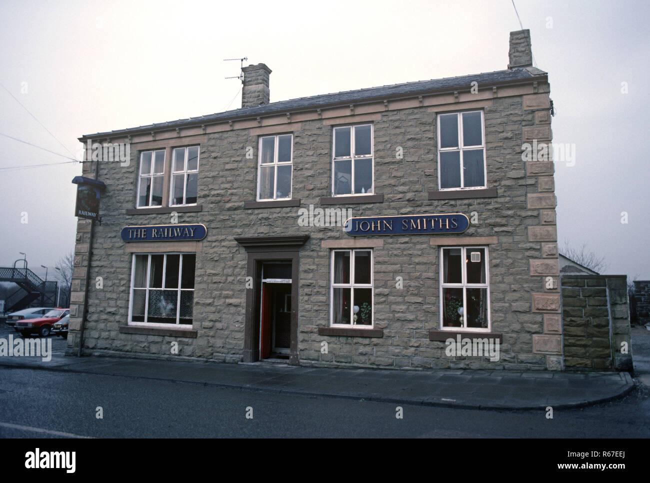 Railway Inn at Huncoat on the British Rail Preston to Colne railway line, Lancashire, Great Britain - Stock Image