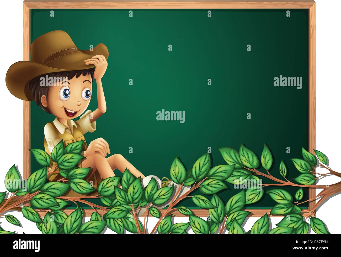 Boy scout on blackboard banner illustration - Stock Vector