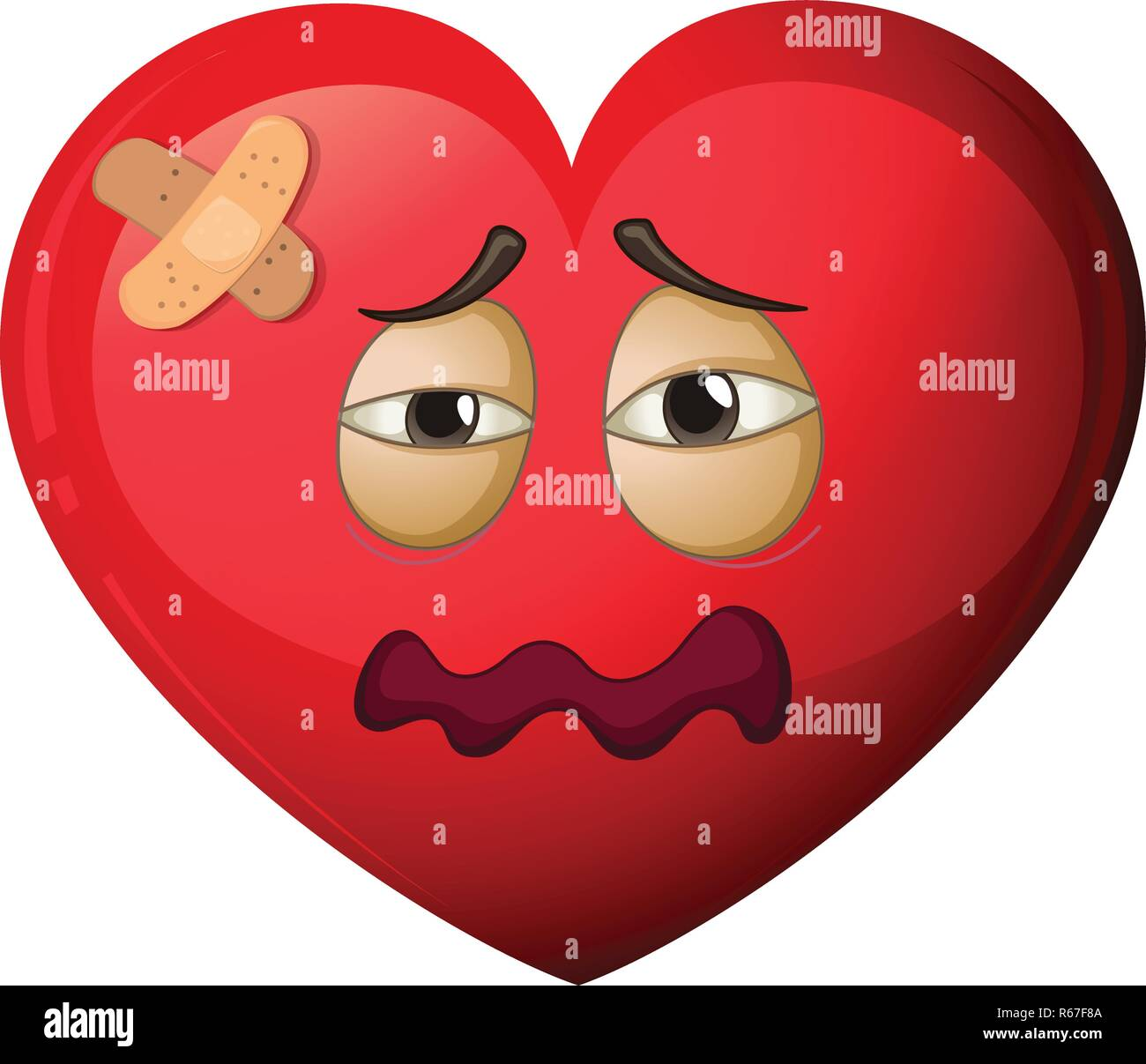 A heart character in pain illustration - Stock Vector