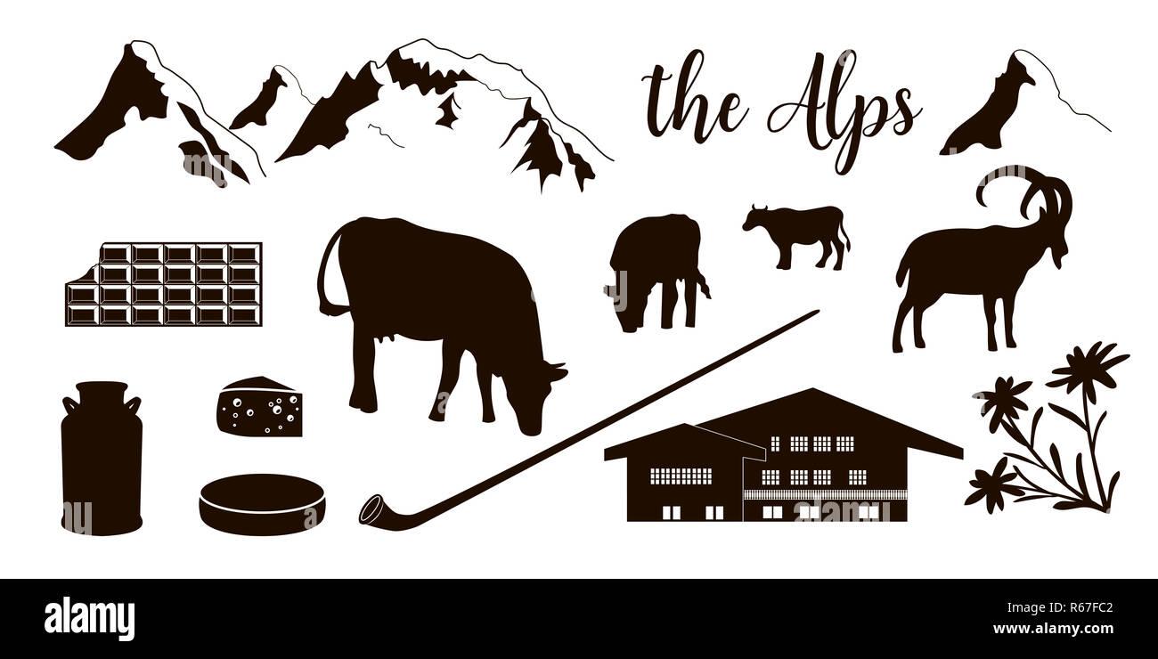 The Alps flat icons. Mountain Matterhorn, Alpine ibex, chalet, edelweiss flowers, alpenhorn - Stock Image
