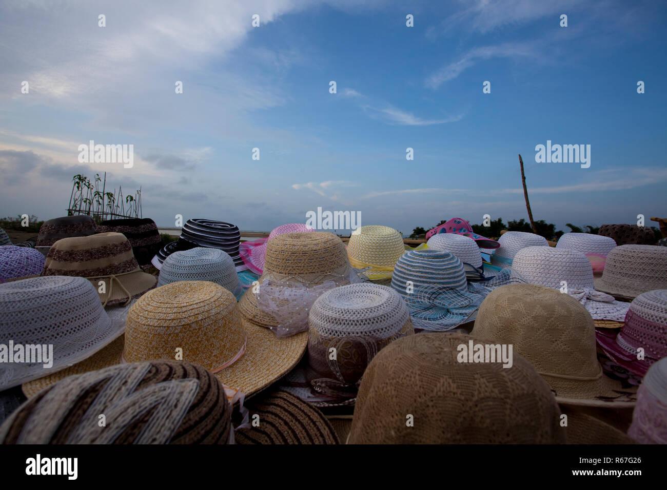 Hat shop at sea beach. Cox's Bazar, Bangladesh. - Stock Image
