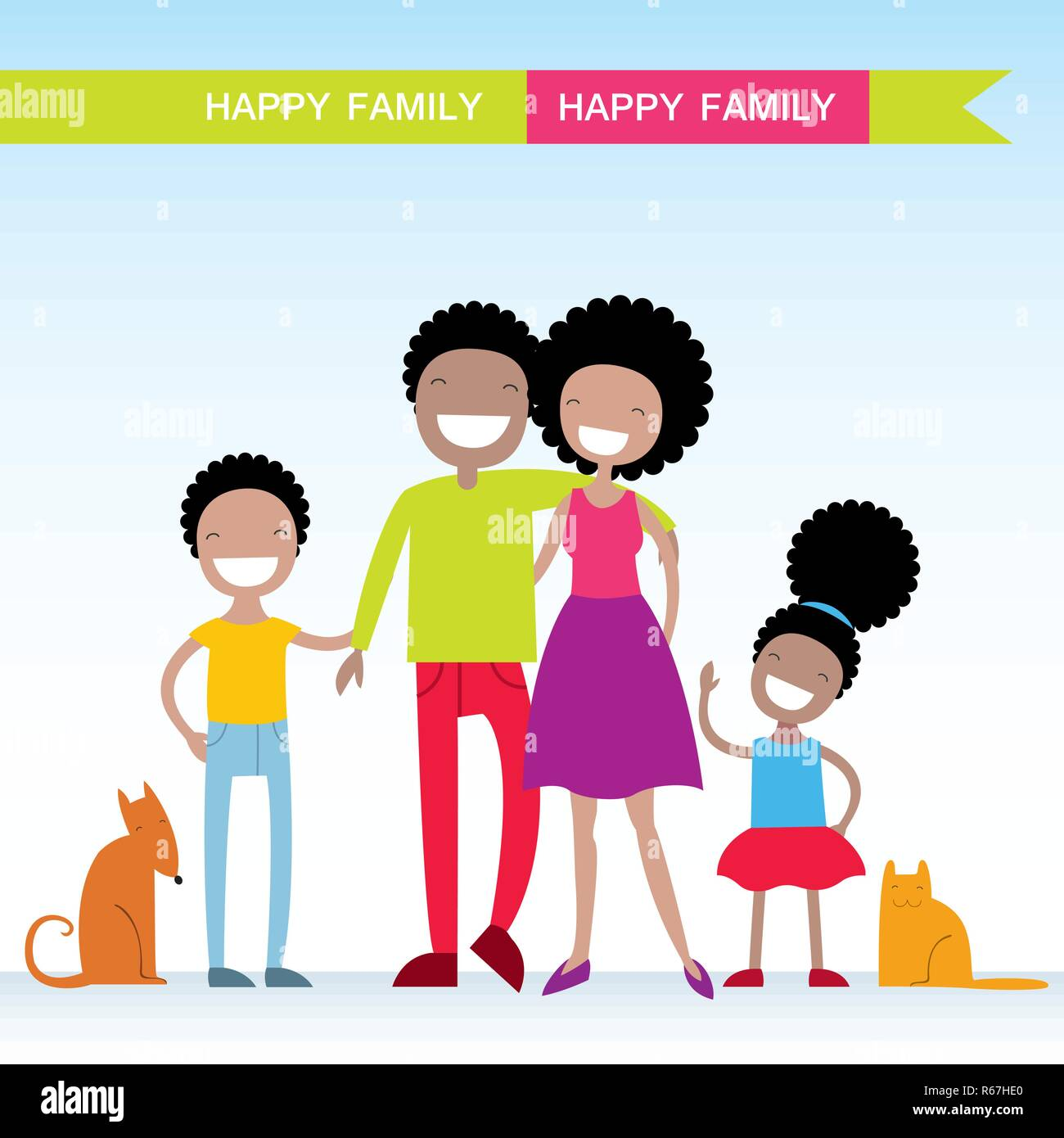 Portrait of four member of African American family with their pets, posing together smiling happy. Lovely cartoon characters.Vector illustration Stock Vector