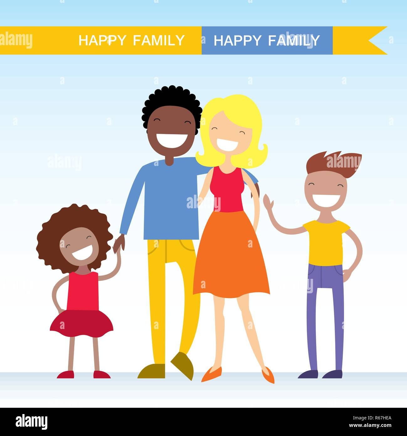 Portrait of four member of mixed race family posing together and happy smiling. Lovely cartoon characters.Vector illustration Stock Vector
