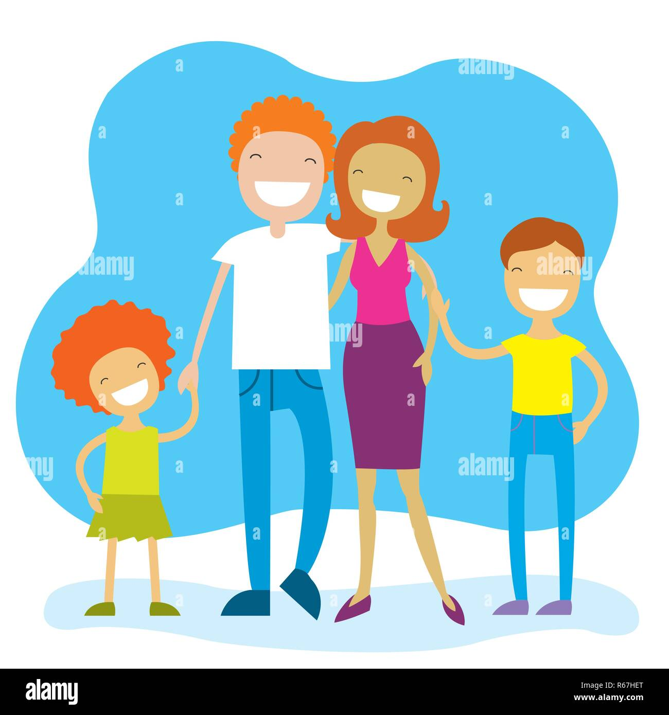 Portrait of four member family posing together and happy smiling. Lovely cartoon characters.Vector illustration Stock Vector