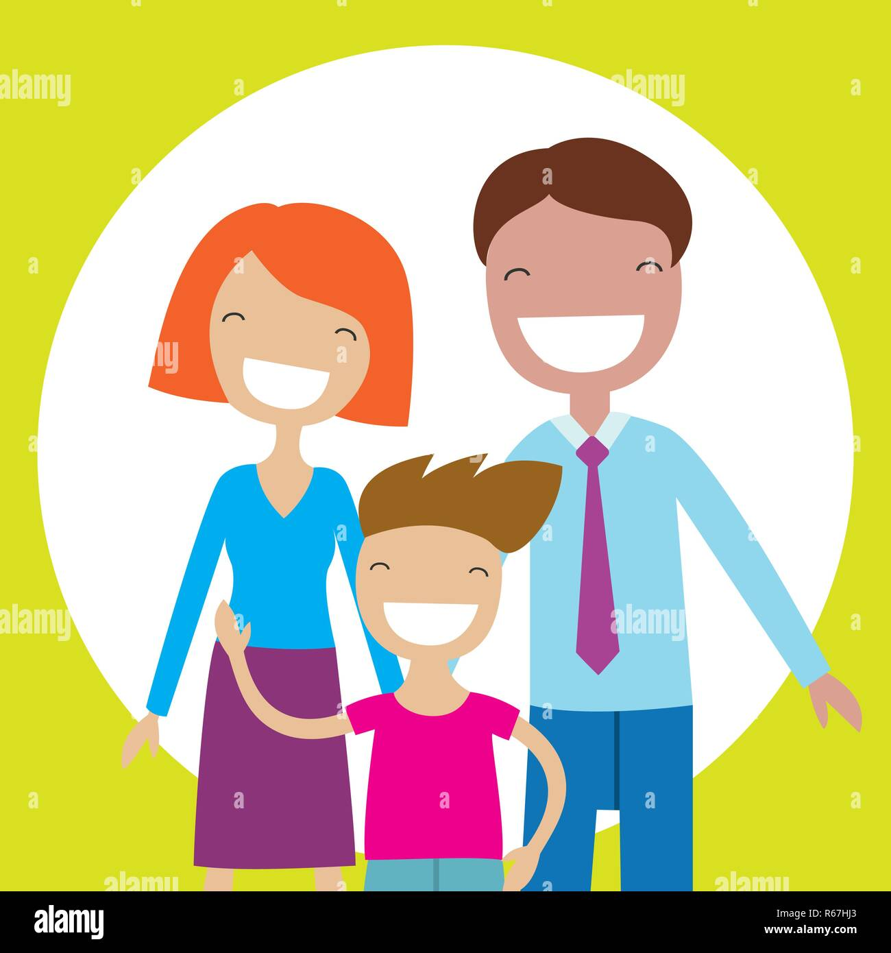 Happy family members parents and their son. Lovely cartoon characters.Vector illustration - Stock Vector