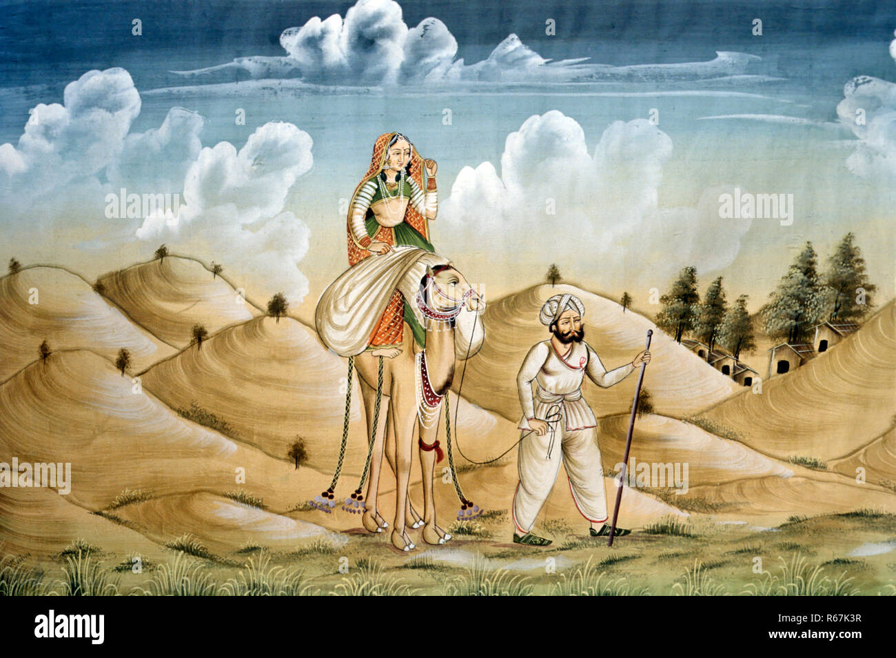 miniature painting on silk, lonely travelers, rajasthan - Stock Image