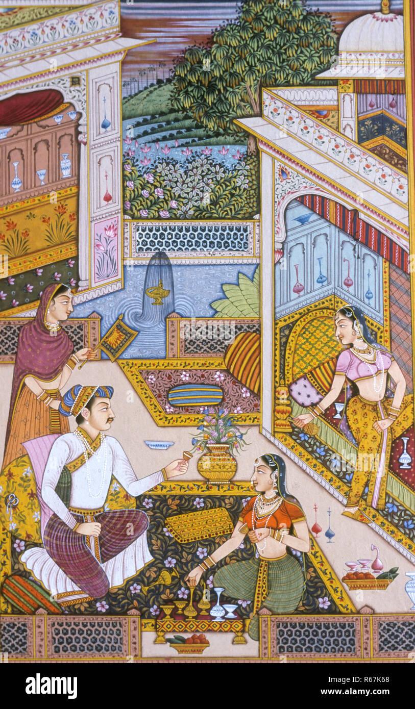 Mughal Miniature painting on paper Royal King Enjoying drink - Stock Image