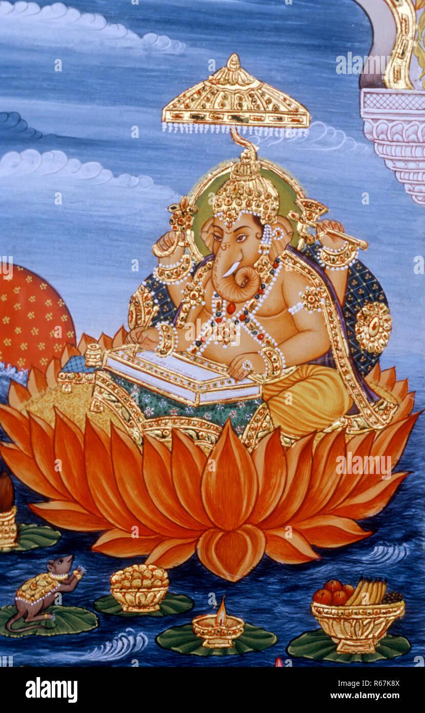 Lord Ganesh ganpati Miniature Painting writing scripture - Stock Image
