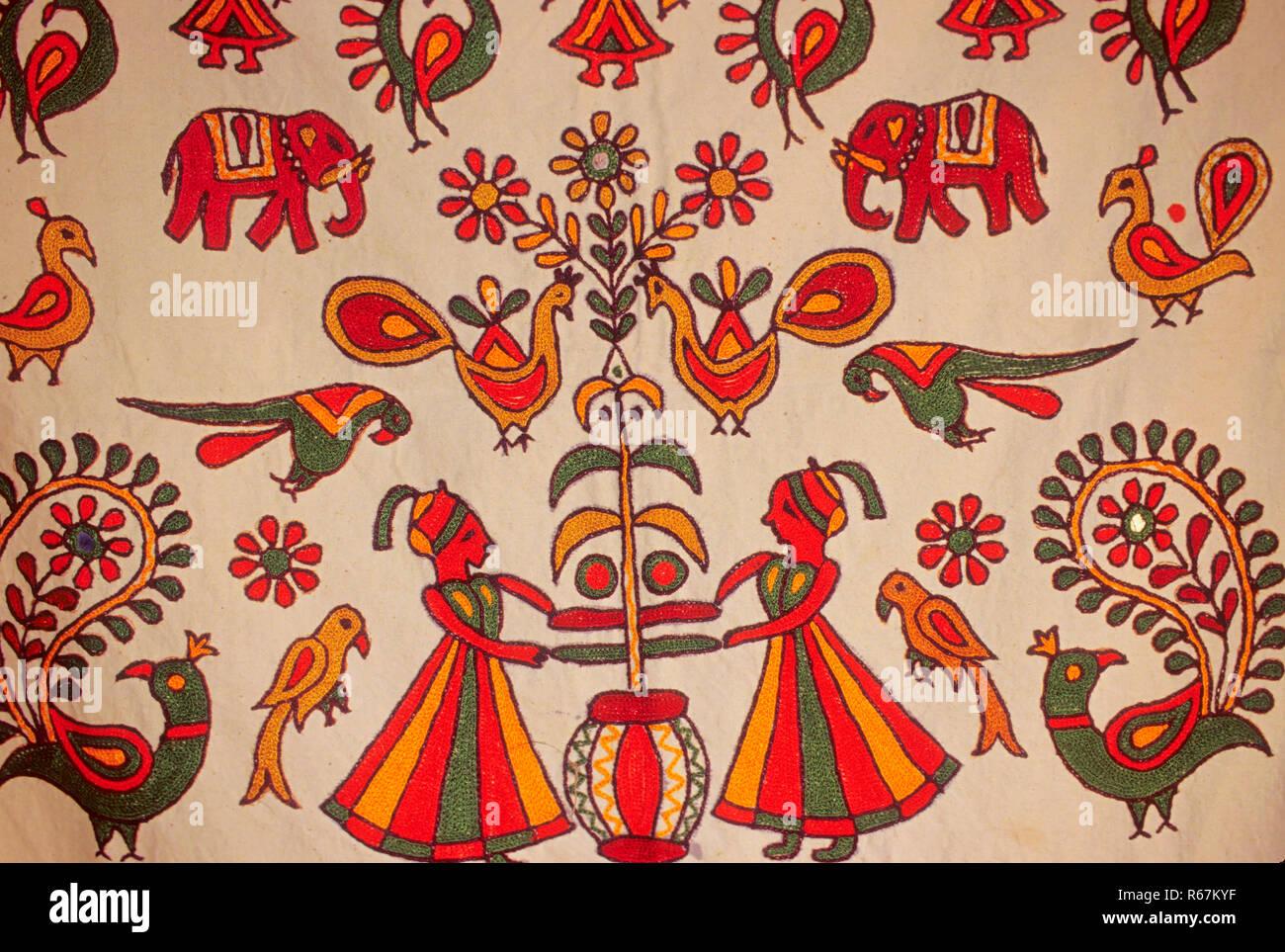 folk design on cotton cloth Stock Photo