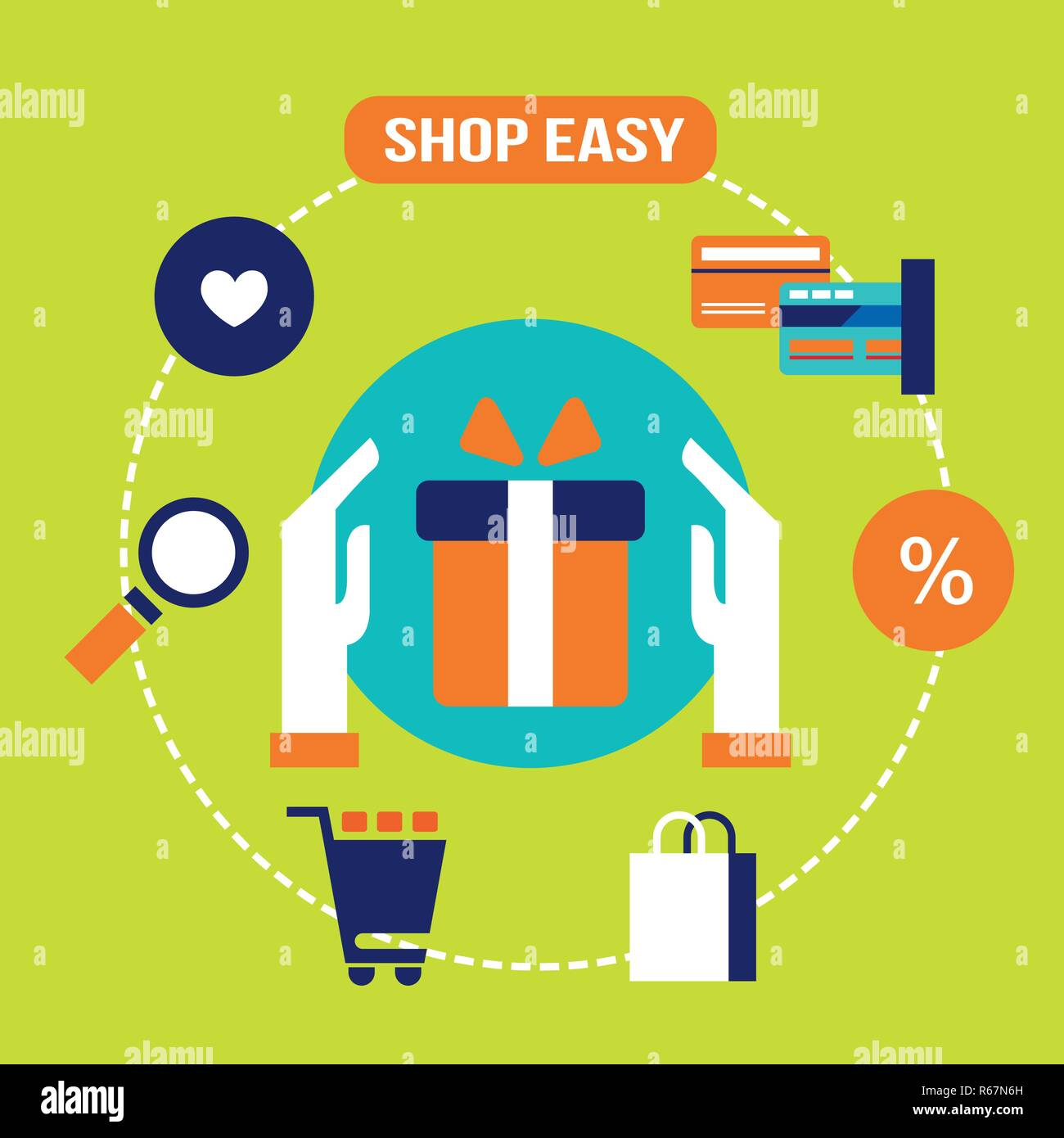 Shop Easy Buy Present And Gift E Commerce Online Shopping And