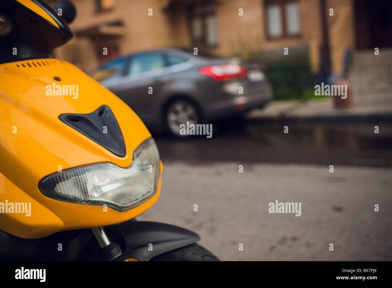 focus on headlamp. Retro motorcycle with headlight - Stock Image