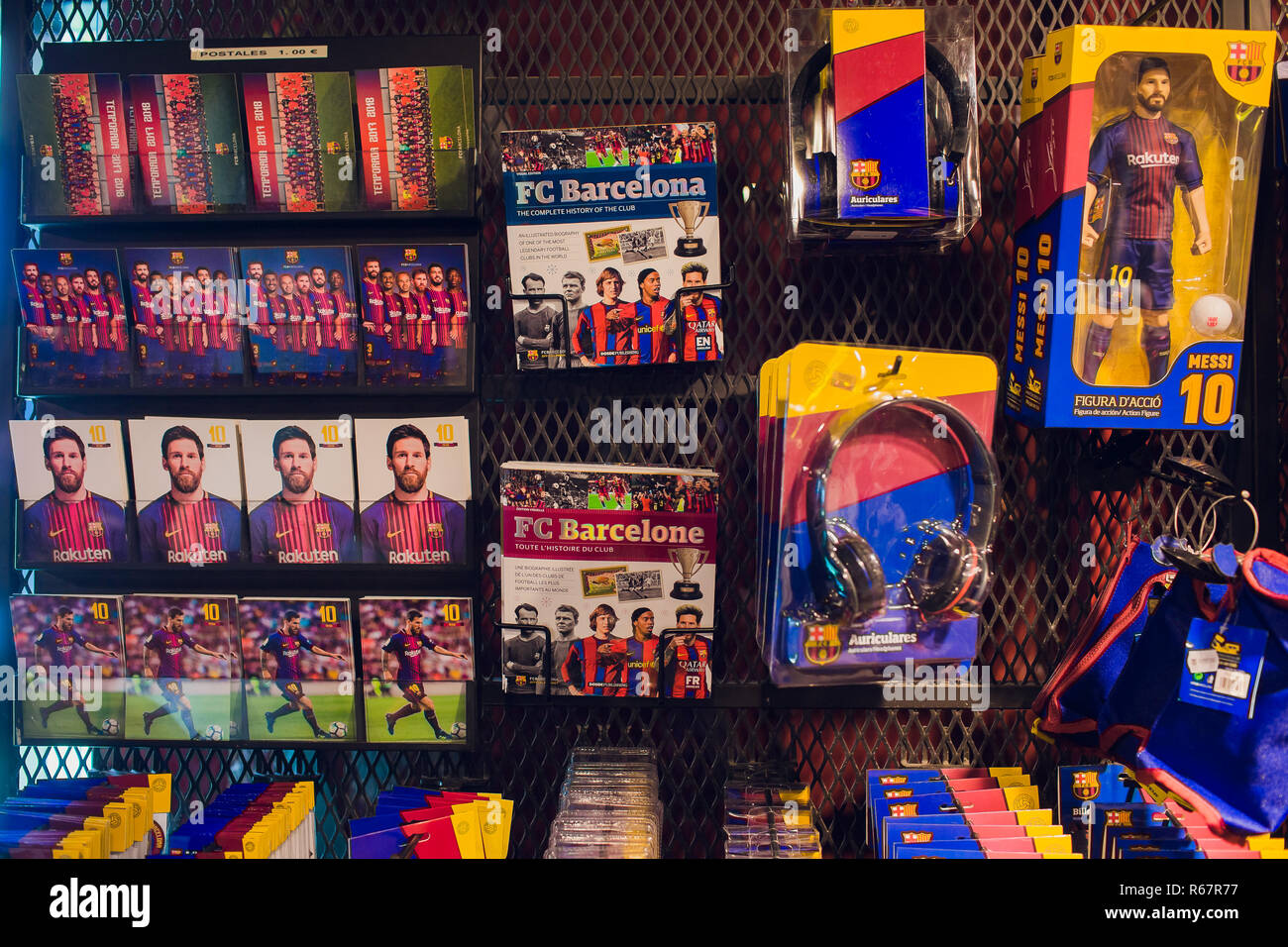 BARCELONA, SPAIN - AUGUST 10, 2018: Entrance the FCB Futbol Club Barcelona official store located in Passeig de Gracia, where architectural jewels stand side by side with most prestigious shops. - Stock Image