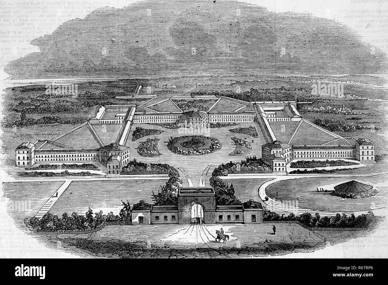 HANWELL INSANE ASYLUM in Southall,  north London, about 1840. Now the St. Bernard's Hospital. - Stock Image
