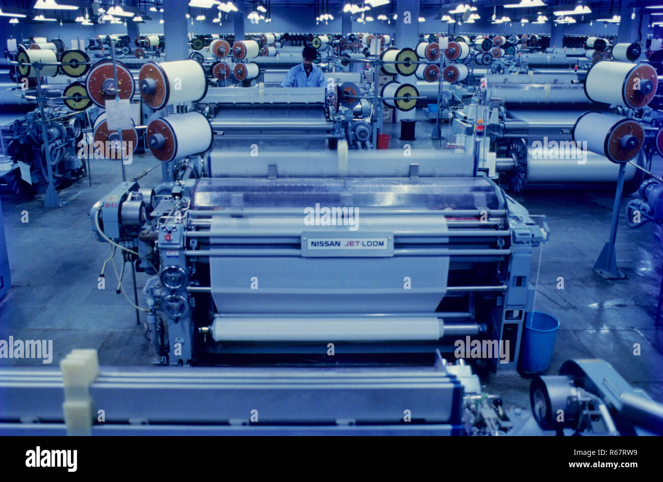water jet weaving machine, textile industry, india Stock
