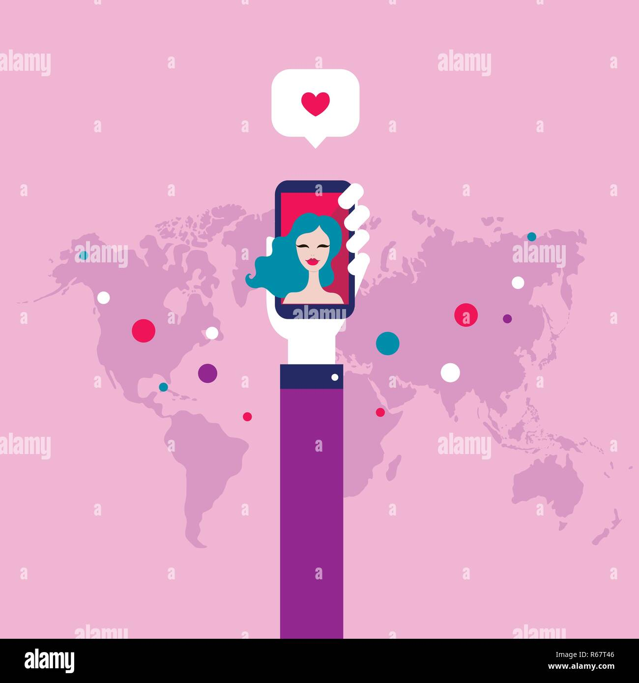 Love and Social Network concept St Valentines Day Vector illustration Stock Vector