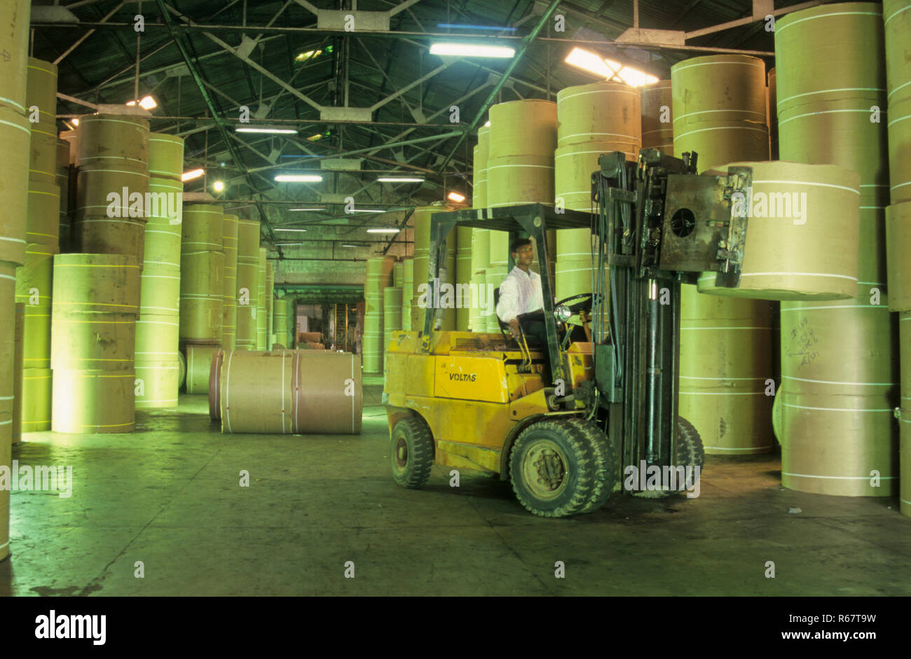 finished products warehouse, paper mills, surat, gujrat, india - Stock Image