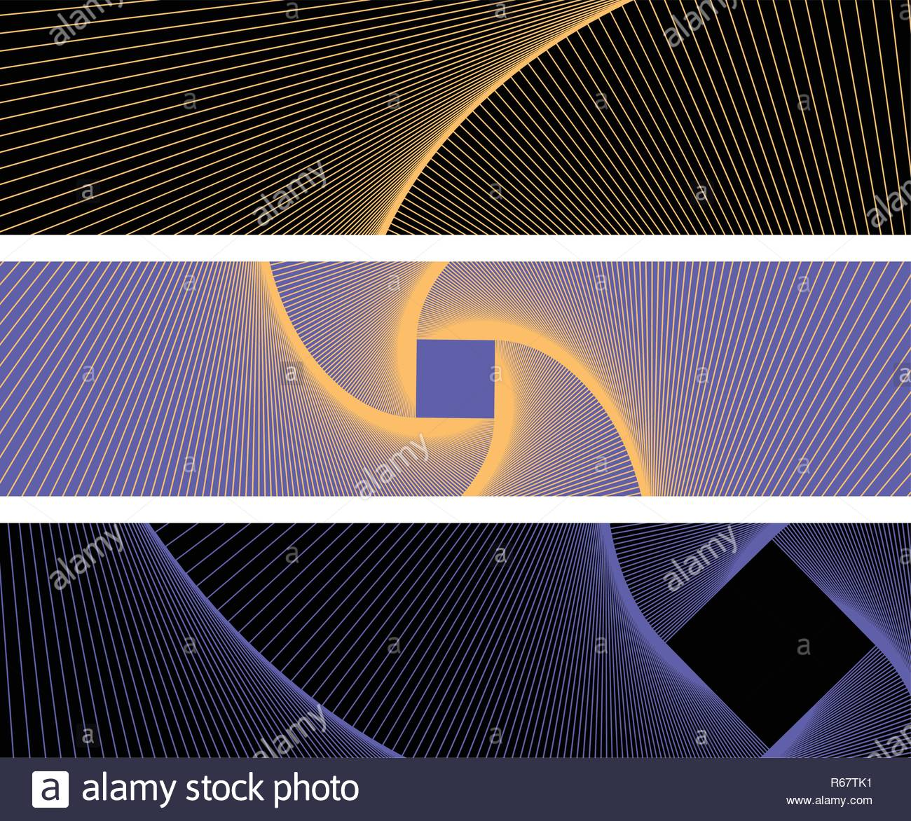 graphic abstract banners with linear vortex pattern in blue gold shades - Stock Vector