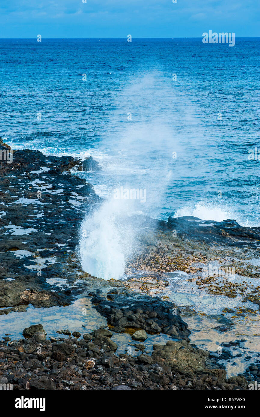 Spouting Horn Beach Park, Kauai, Hawaii, USA - Stock Image