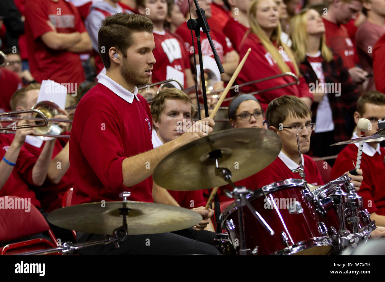 Madison, WI, USA. 3rd Dec, 2018. Wisconsin band member plays during the NCAA Basketball game between the Rutgers Scarlet Knights and the Wisconsin Badgers at the Kohl Center in Madison, WI. Wisconsin defeated Rutgers 69-64. John Fisher/CSM/Alamy Live News - Stock Image