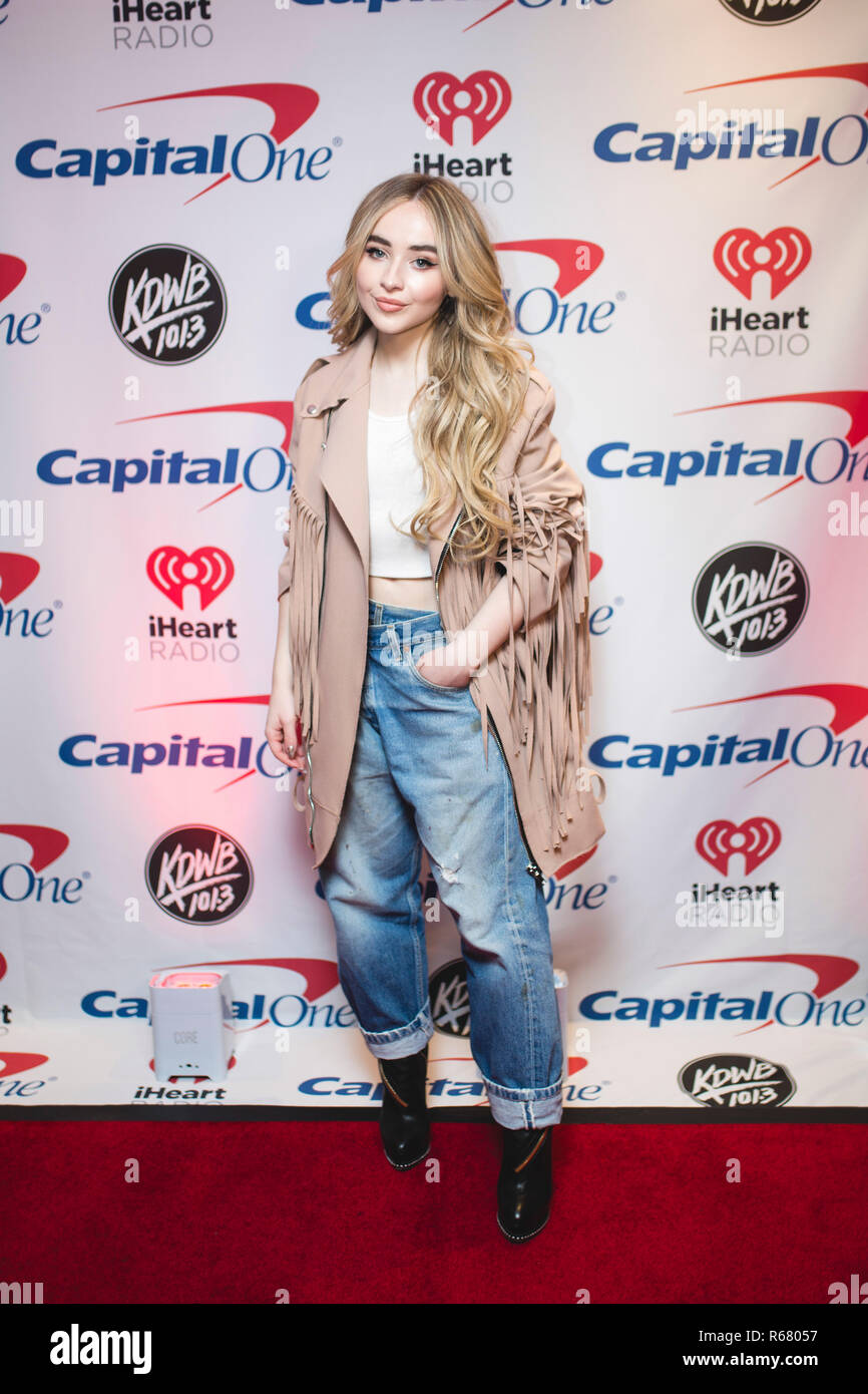 Saint Paul, USA. 03rd Dec, 2018. Sabrina Carpenter backstage on the red carpet at the Xcel Energy Center in Saint Paul, Minnesota. Credit: The Photo Access/Alamy Live News - Stock Image