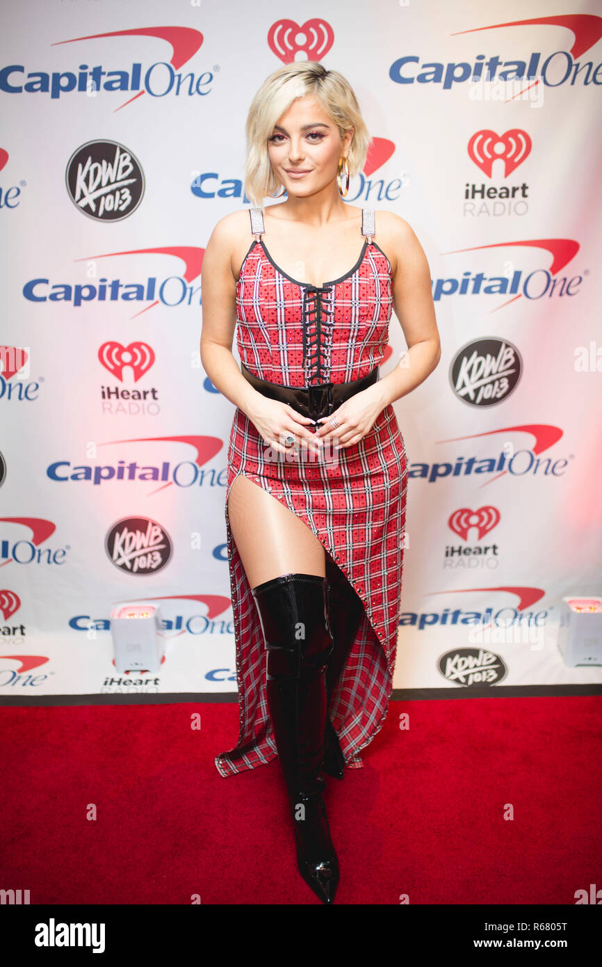 Saint Paul, USA. 03rd Dec, 2018. Bebe Rexha backstage on the red carpet at the Xcel Energy Center in Saint Paul, Minnesota. Credit: The Photo Access/Alamy Live News - Stock Image