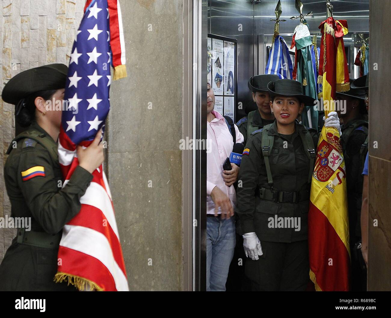 Medellin, Colombia. 04th Dec, 2018. Members of Colombia's Anti-Drugs Police attend the first International Anti-Narcotics Congress, in Medellin, Colombia, 04 December 2018. Credit: Luis Eduardo Noriega A./EFE/Alamy Live News - Stock Image