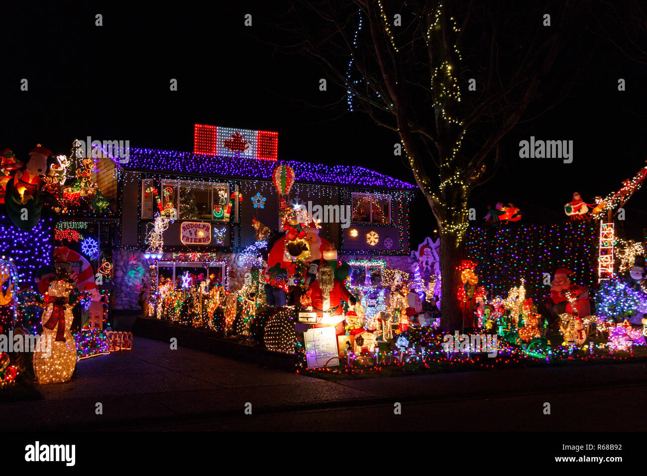 White Rock, Canada - Circa 2018, Christmas Lights in front of a house - Stock Image