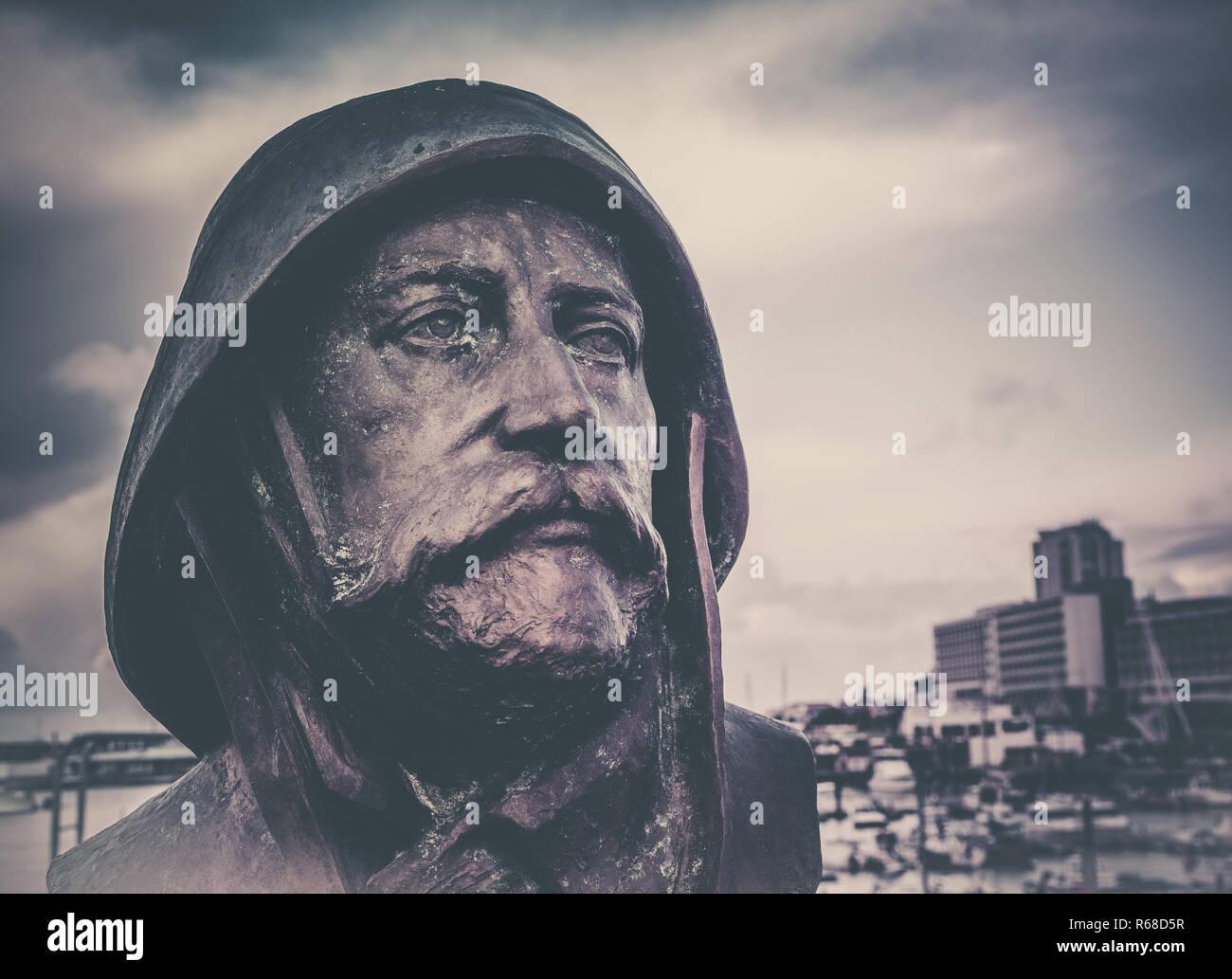 Soldier face sculpture Stock Photo